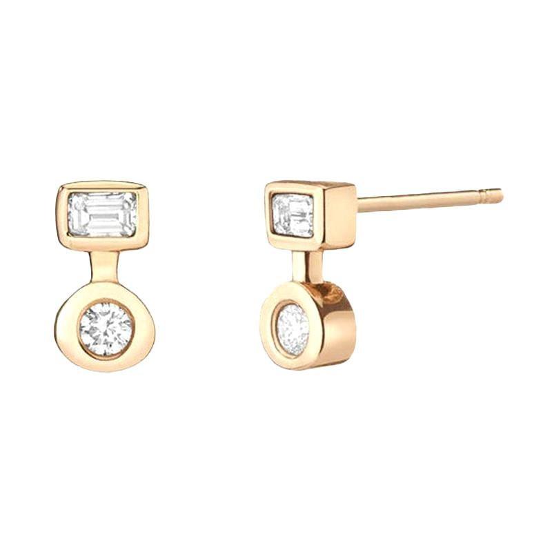 0.18 Carat Emerald Cut Diamond and 0.20 Carat Round Diamond Stud Earrings
