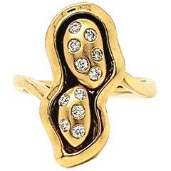 0.18 Carat White Diamond Peanut Design Yellow Gold Fashion Ring