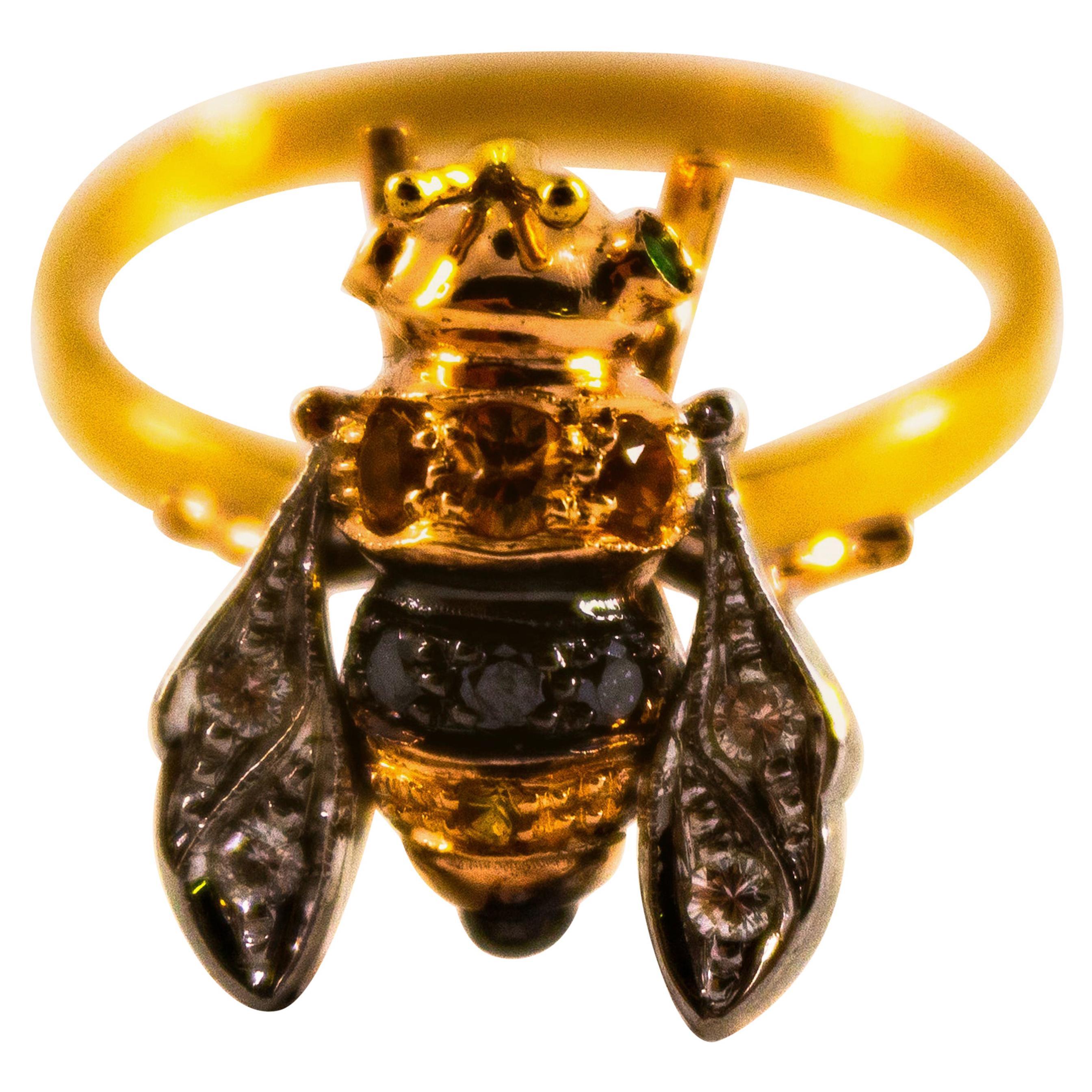 "0.18 Carat Yellow Sapphire 0.15 Carat Diamond Yellow Gold Cocktail ""Bee"" Ring"