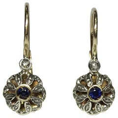 0.18 Sapphire Rose Cut Diamond Yellow Gold Lever-Back Earrings