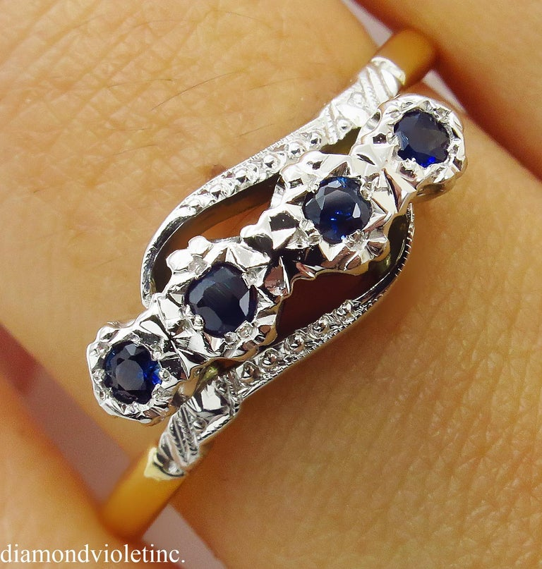 0.18ct Antique Vintage Blue Sapphire Four Stone Engagement Wedding 18k Two Tone  For Sale 5
