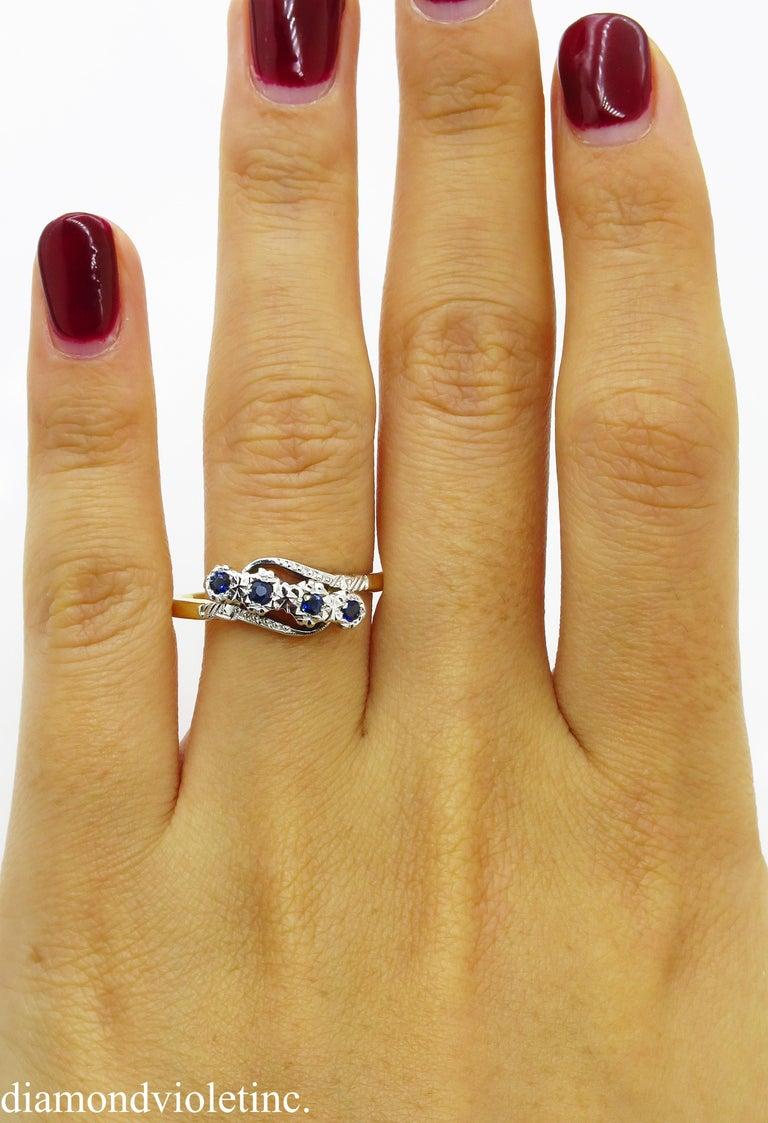 0.18ct Antique Vintage Blue Sapphire Four Stone Engagement Wedding 18k Two Tone  For Sale 6