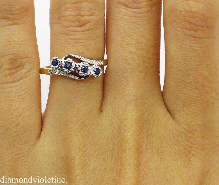 0.18ct Antique Vintage Blue Sapphire Four Stone Engagement Wedding 18k Two Tone  For Sale 7