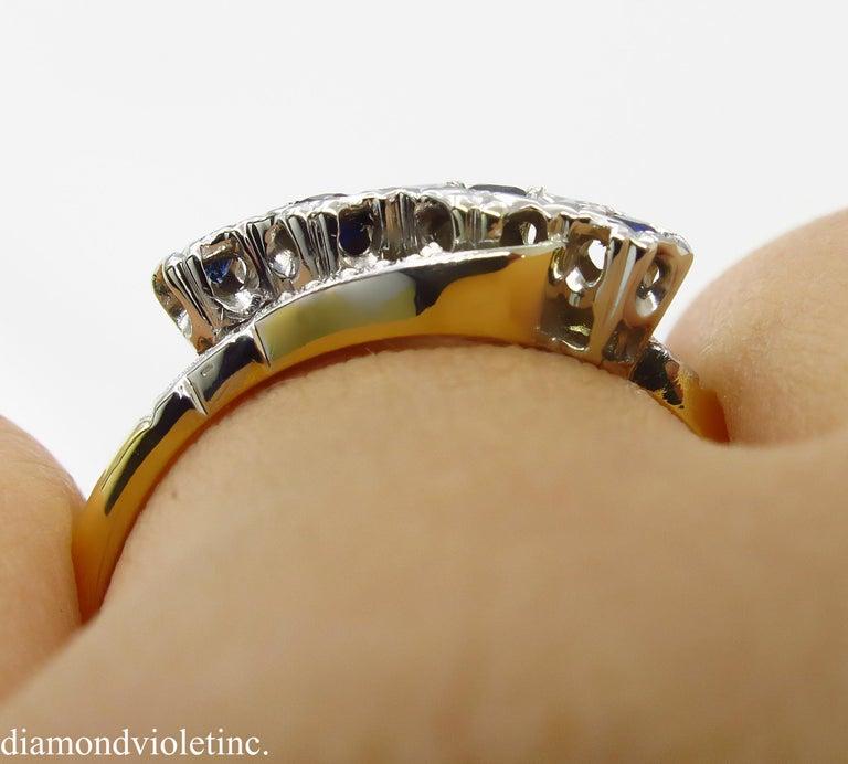 0.18ct Antique Vintage Blue Sapphire Four Stone Engagement Wedding 18k Two Tone  For Sale 10