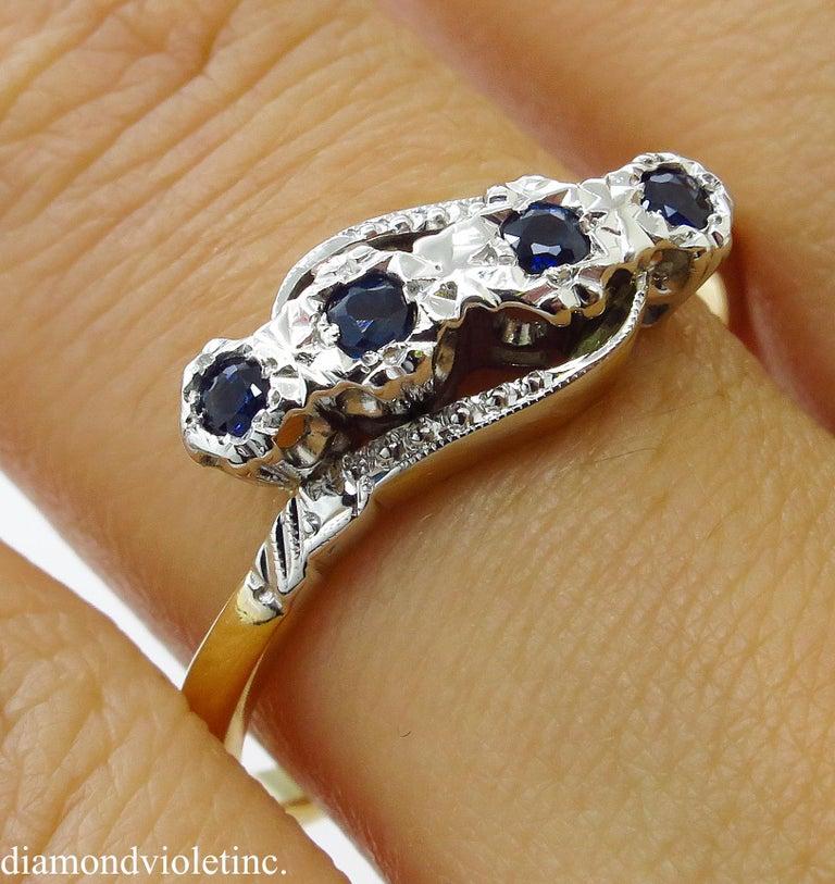 0.18ct Antique Vintage Blue Sapphire Four Stone Engagement Wedding 18k Two Tone  For Sale 11
