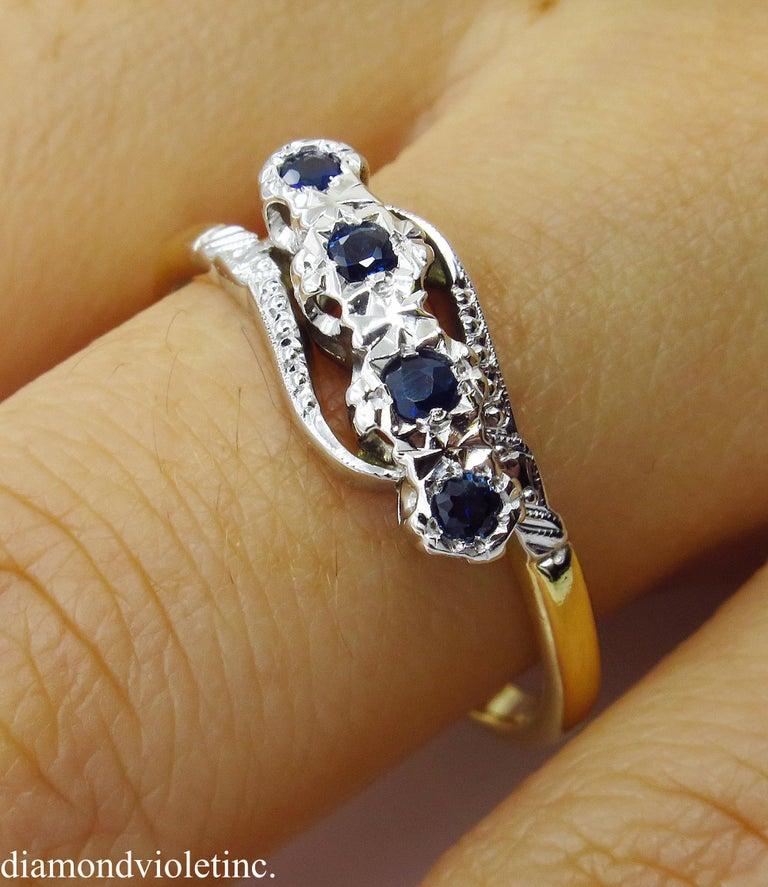 0.18ct Antique Vintage Blue Sapphire Four Stone Engagement Wedding 18k Two Tone  For Sale 12