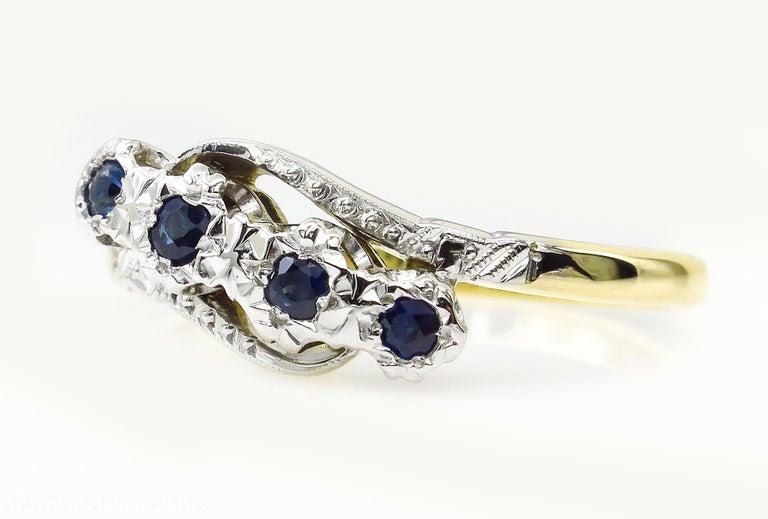 Round Cut 0.18ct Antique Vintage Blue Sapphire Four Stone Engagement Wedding 18k Two Tone  For Sale