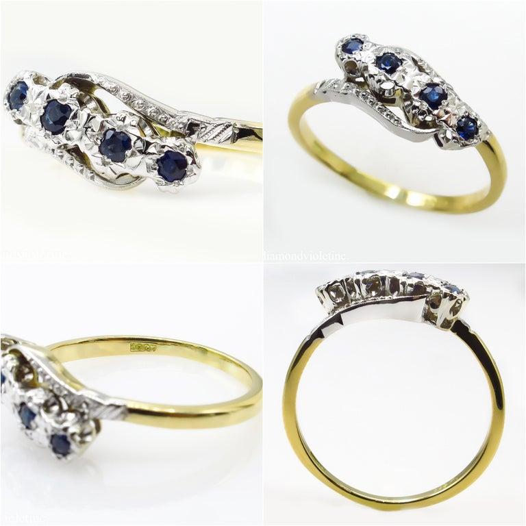 Women's 0.18ct Antique Vintage Blue Sapphire Four Stone Engagement Wedding 18k Two Tone  For Sale
