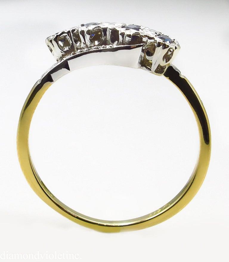 0.18ct Antique Vintage Blue Sapphire Four Stone Engagement Wedding 18k Two Tone  For Sale 1