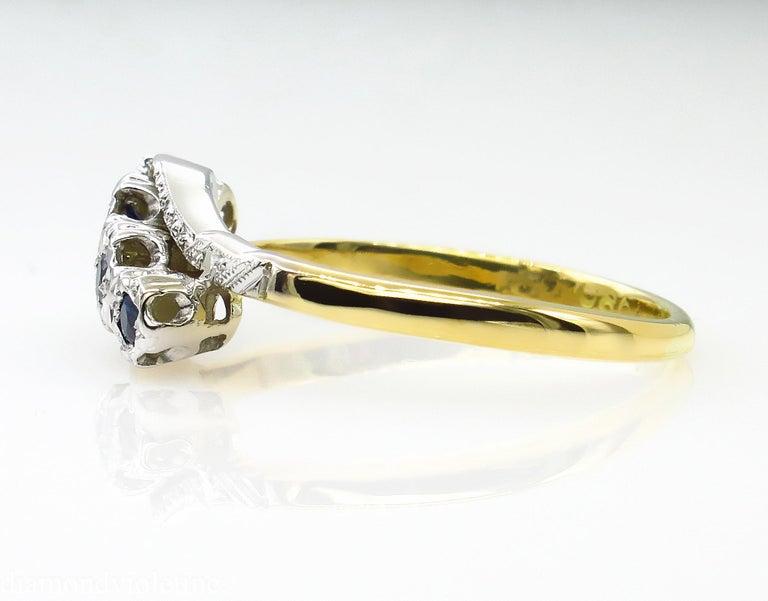 0.18ct Antique Vintage Blue Sapphire Four Stone Engagement Wedding 18k Two Tone  For Sale 3