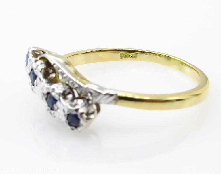 0.18ct Antique Vintage Blue Sapphire Four Stone Engagement Wedding 18k Two Tone  For Sale 4