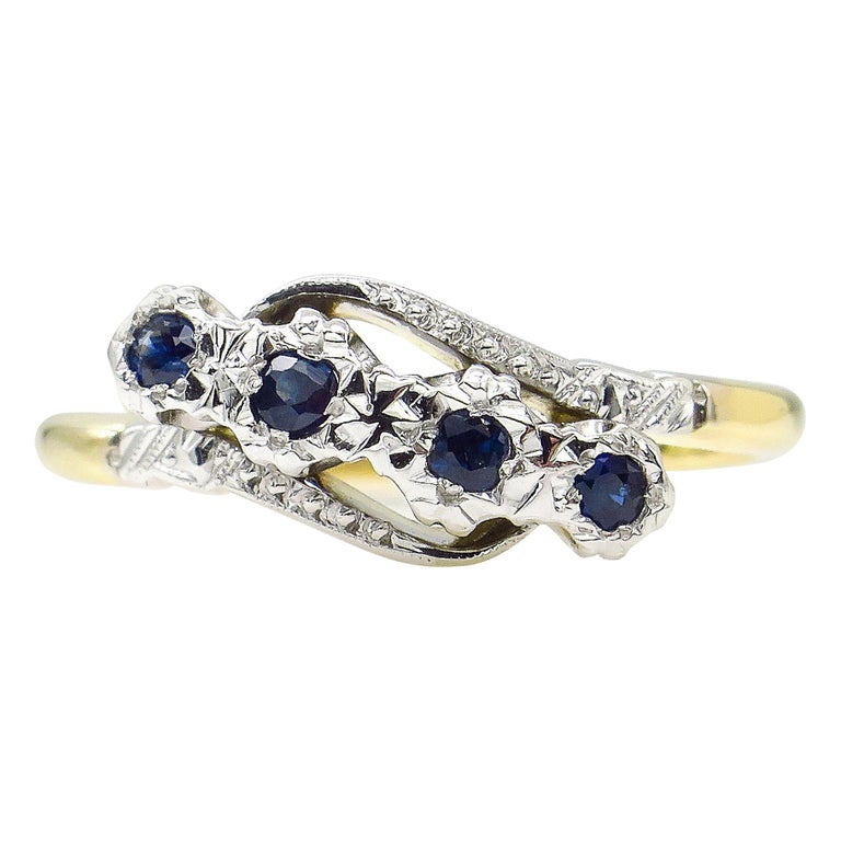 0.18ct Antique Vintage Blue Sapphire Four Stone Engagement Wedding 18k Two Tone  For Sale