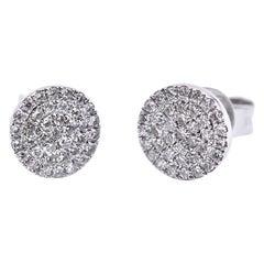 0.19 Carat Diamond 14 Karat White Gold Cluster Stud Earrings