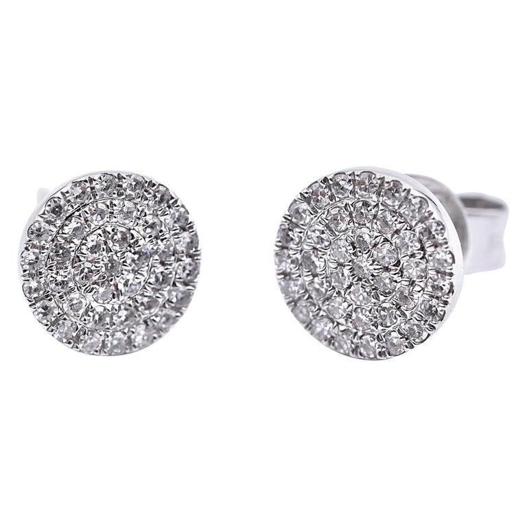 0.19 Carat Diamond 14 Karat White Gold Cluster Stud Earrings For Sale