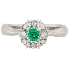 0.19 Carat Emerald Center Diamond Cocktail Ring Platinum in Stock
