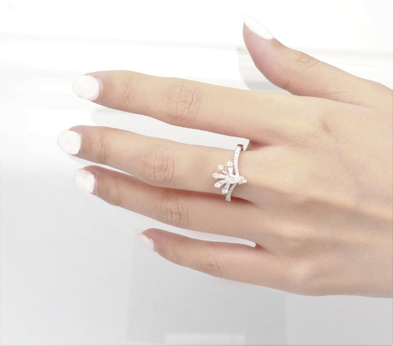 0.19 Carat Pear Cut Diamond 14 Karat White Gold Cocktail Ring In New Condition For Sale In New York, NY