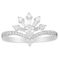 0.19 Carat Pear Cut Diamond 14 Karat White Gold Cocktail Ring