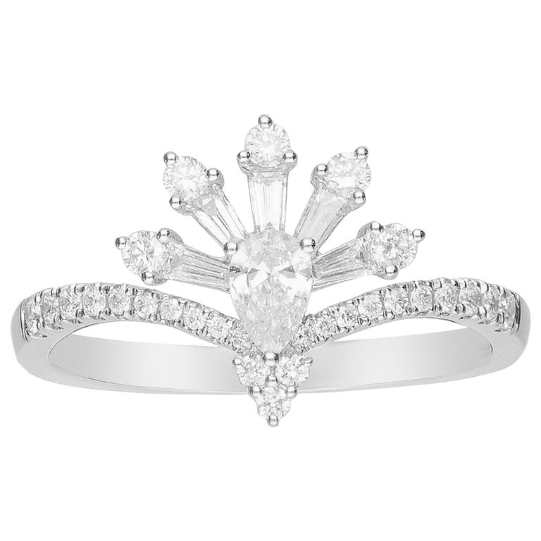 0.19 Carat Pear Cut Diamond 14 Karat White Gold Cocktail Ring For Sale