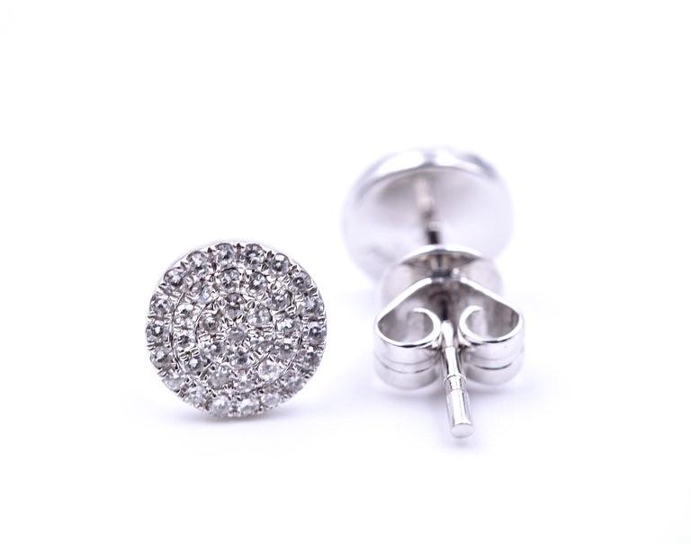 Round Cut 0.19 Carat Diamond 14 Karat White Gold Cluster Stud Earrings For Sale