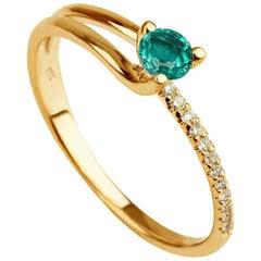 0.2 Carat 14 Karat Yellow Gold Round Emerald Delicate Engagement Ring