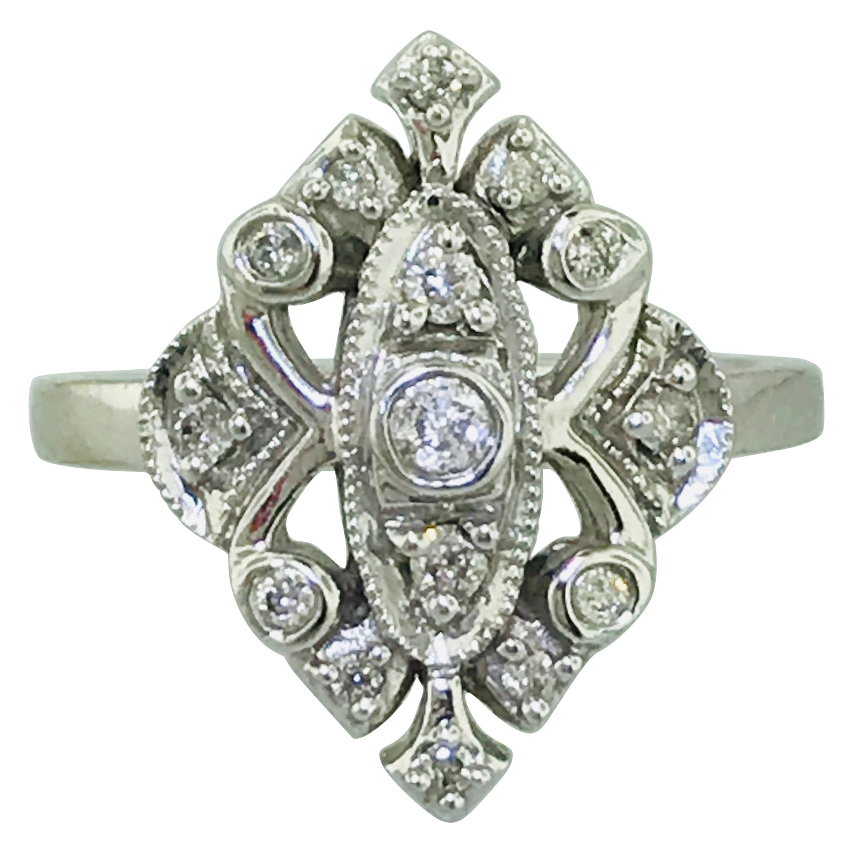 0.20 Carat '1/5 Carat' Diamond Vintage Estate Engagement Ring in 10 Karat Gold