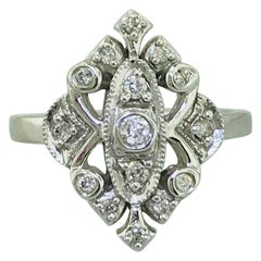 0.20 Carat '1/5 Carat' Diamond Vintage Estate Engagement Ring in 10 Karat Gold