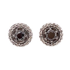 0.20 Carat Black Diamond and White Diamond Halo Stud Earrings in Sterling Silver