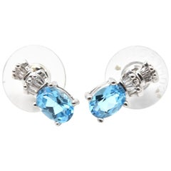 0.20 Carat Blue Topaz and Diamond 14 Karat White Gold Earrings