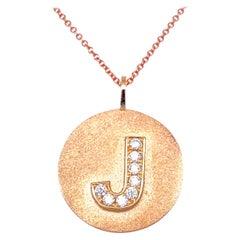0.20 Carat Diamond 14 Karat Gold Round J Initial Pendant