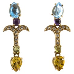 0.20 Carat Diamond Peridot Amethyst Citrine Blue Topaz Yellow Gold Stud Earrings