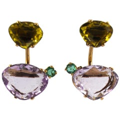 0.20 Carat Emerald Amethyst Citrine Yellow Gold Stud Dangle Earrings