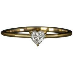 0.20 Carat Heart Shape Natural Diamond Solitaire Ring Setting in Yellow Gold