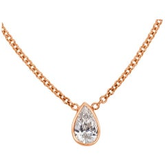 Mark Broumand 0.20 Carat Love Water Pear Shaped Diamond Pendant in Rose Gold