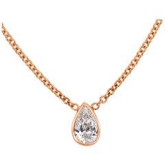 Mark Broumand 0.20 Carat Love Water Pear Shaped Diamond Pendant in Rose Gold