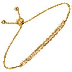 0.20 Carat Natural Diamond Bolo Bar Bracelet G SI 14 Karat Gold Adjustable