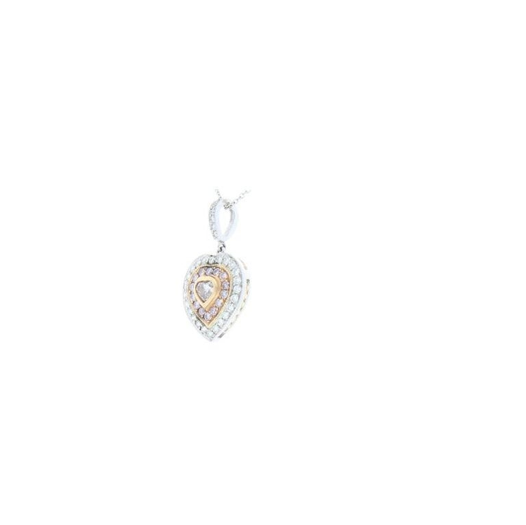 Contemporary 0.20 Carat Natural Pink Heart Shaped Diamond Pendant For Sale