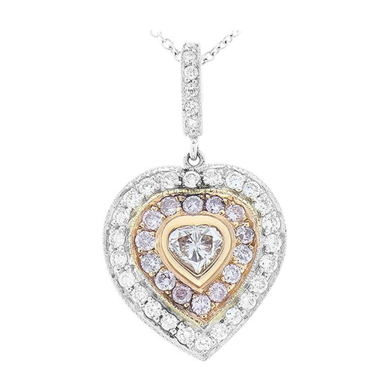 0.20 Carat Natural Pink Heart Shaped Diamond Pendant For Sale