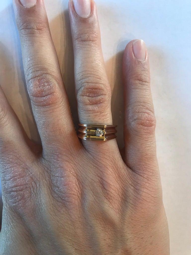 0.20 Carat Round Cut Men's Wedding Band 14 Karat Yellow Gold For Sale 1