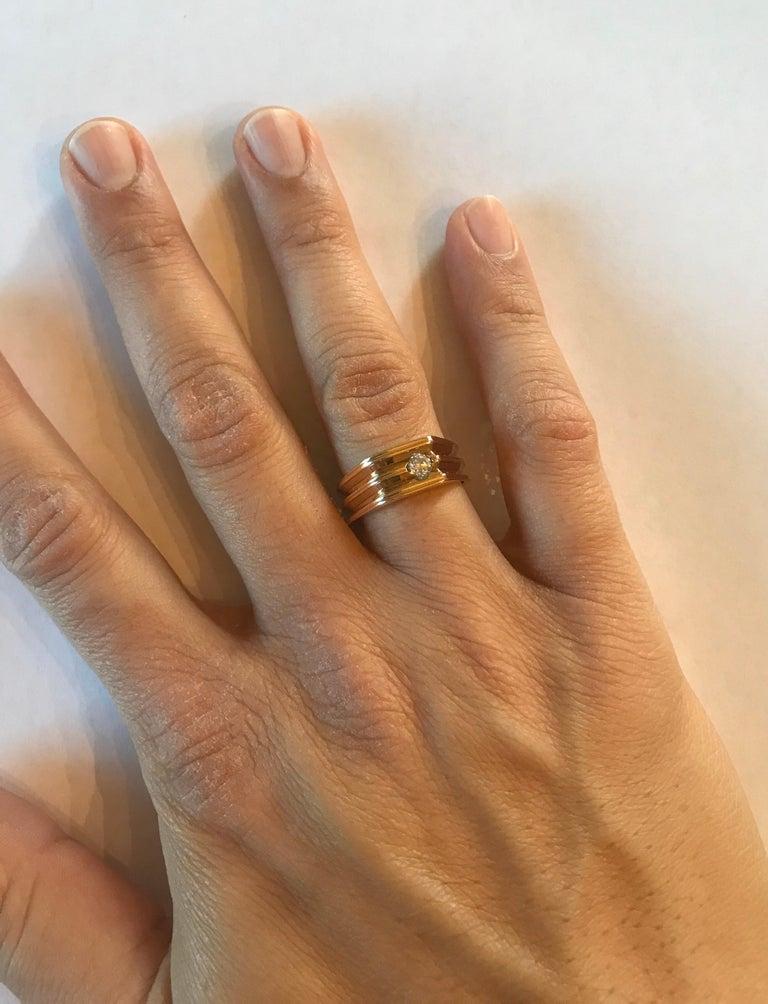 0.20 Carat Round Cut Men's Wedding Band 14 Karat Yellow Gold For Sale 2