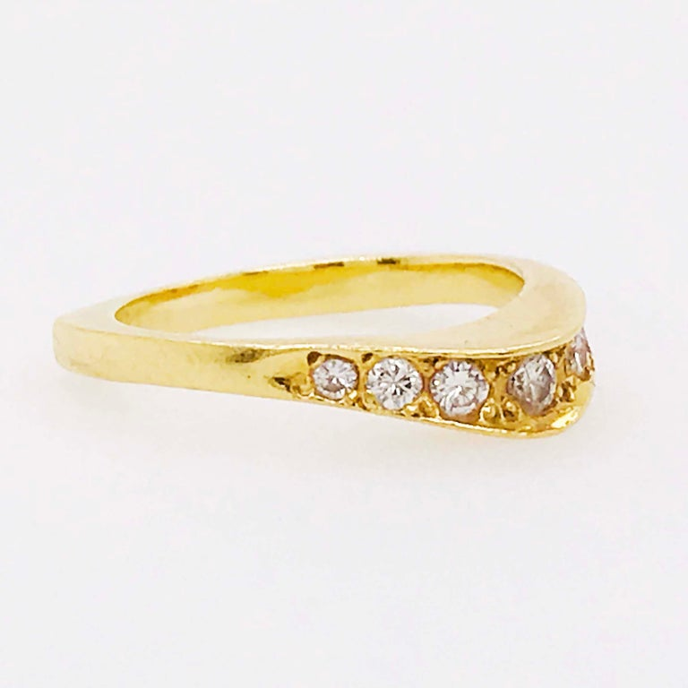 Artisan Curved Diamond Ring, .2C Round Custom Band, Estate Diamond Wedding, 18K Gold For Sale