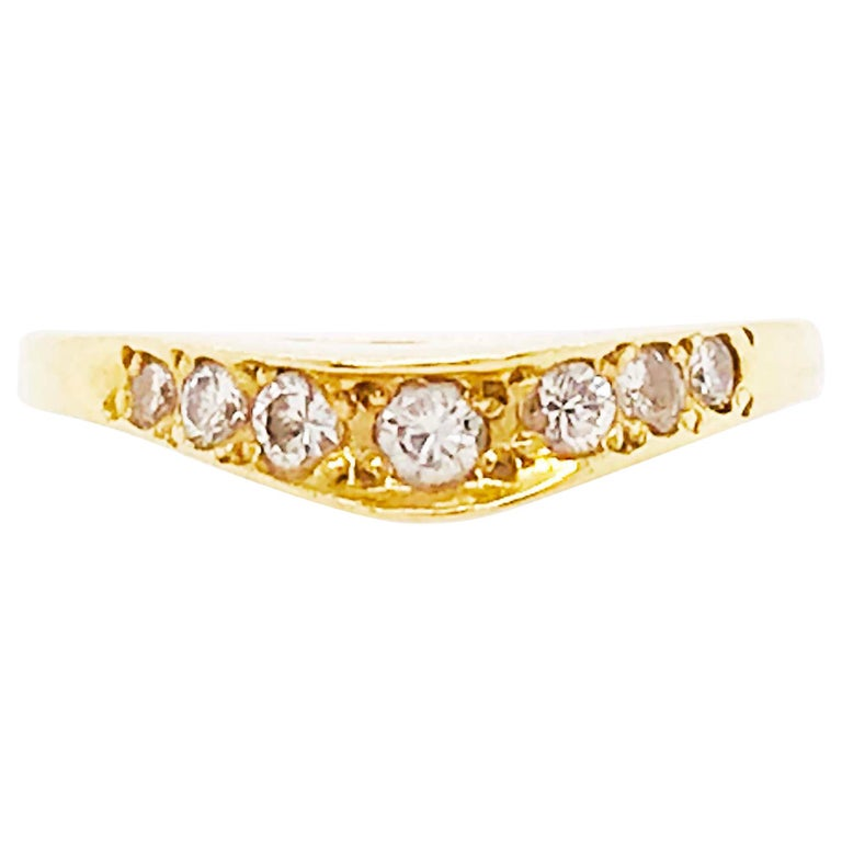 Curved Diamond Ring, .2C Round Custom Band, Estate Diamond Wedding, 18K Gold For Sale