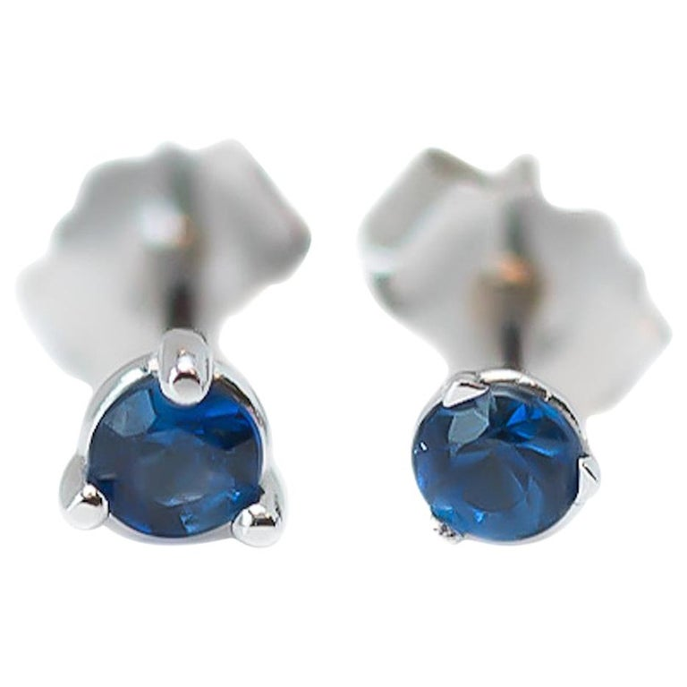 f394401a3 0.20 Carat Total Blue Sapphire Martini Stud Earrings in 14 Karat White Gold  For Sale