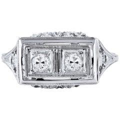 Vintage Estate 0.20 Carat Transitional Cut Diamond Engagement Ring Size 3.75