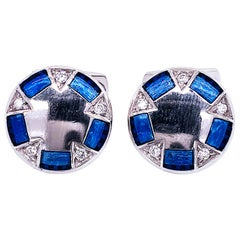 0.20 Karat White Diamond Navy Blue Hand Enameled Lunette 950 Platinum Cufflinks