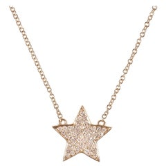 0.21 Carat Diamond Yellow Gold Star Necklace