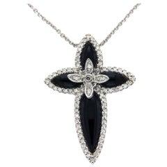 0.21 Carat Diamonds 14 Karat Yellow Gold with Onyx Cross Pendant Necklace