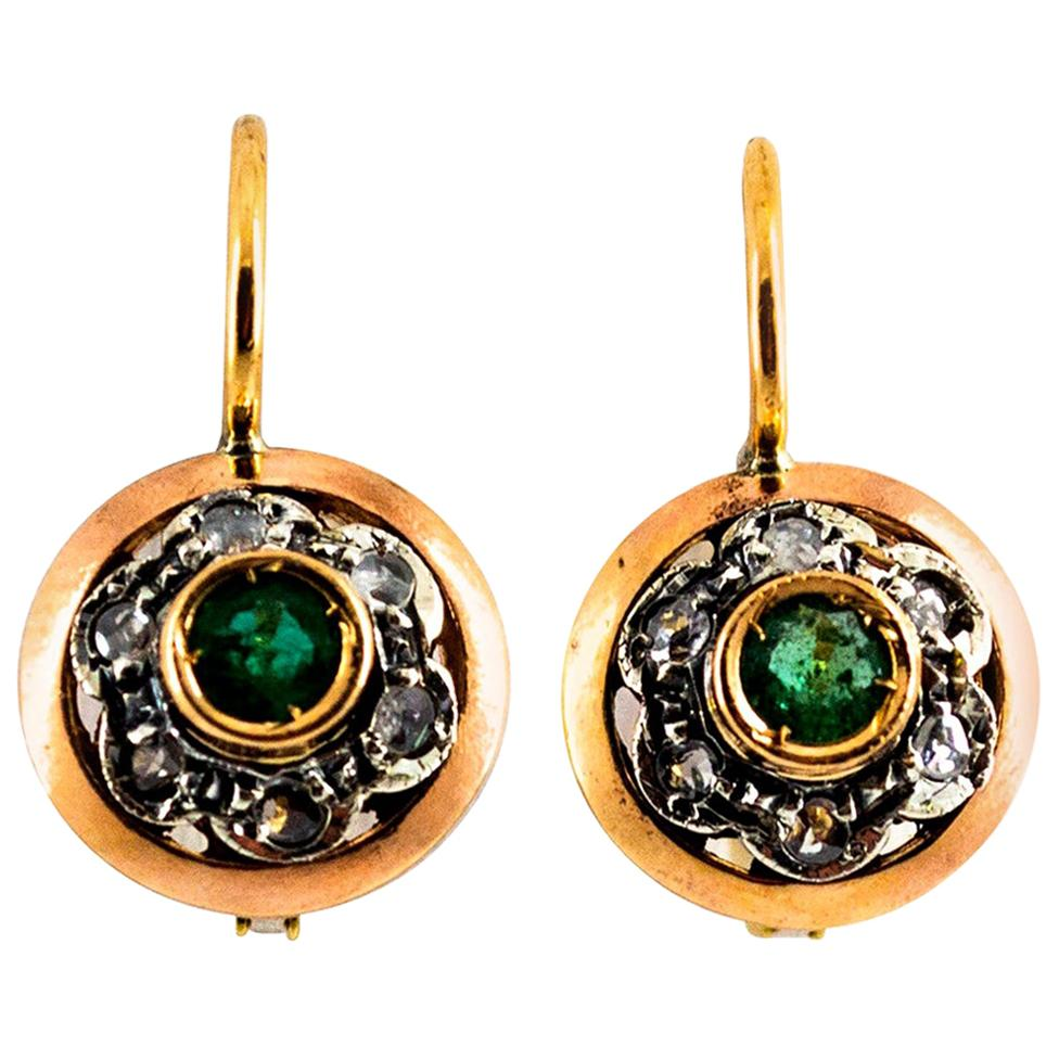 0.21 Carat White Rose Cut Diamond Emerald Yellow Gold Lever-Back Dangle Earrings