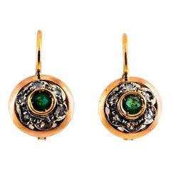 0.21 Carat White Rose Cut Diamond Emerald Yellow Gold Lever-Back Dangle Earrings