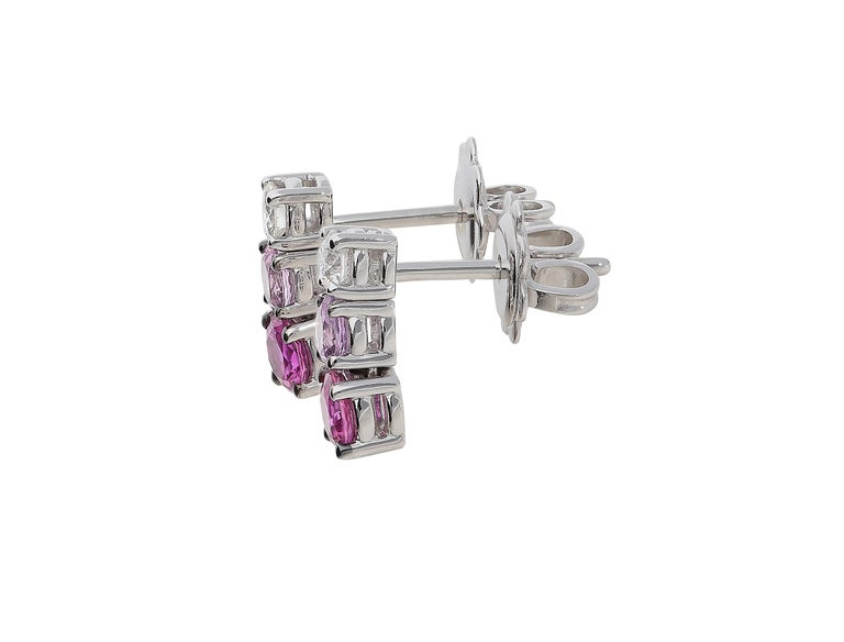 Round Cut 0.21 White GVS Diamonds 0.51 Rubies 0.38 Pink Sapphires 18 Karat Gold Earrings For Sale