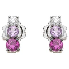 0.21 White GVS Diamonds 0.51 Rubies 0.38 Pink Sapphires 18 Karat Gold Earrings